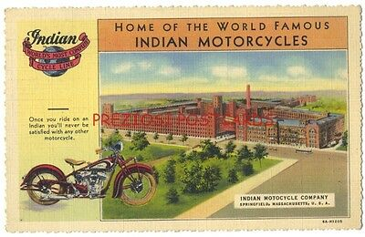 INDIAN MOTORCYCLE CO. & MOTORCYCLE - Springfield MA 1936 LINEN Postcard
