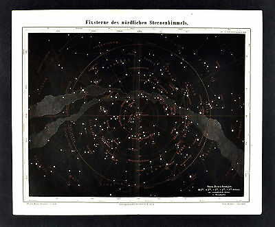 1875 Meyer Map - Star Chart - Northern Sky Constellations Zodiac Cosmos Polaris