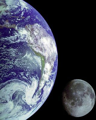 Galileo Spacecraft Earth and Moon Composite 11x14 Silver Halide Photo Print