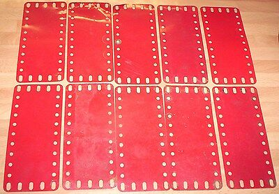MECCANO VINTAGE MID RED FLEXIBLE PLATES PLATES X 10 PART No 192,..,,barn find