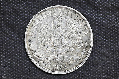 Mexico - Republic 1871 Go S UN PESO Silver Coin ( Weight : 26.94 g ) C01