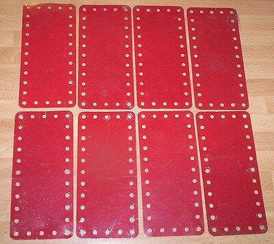 MECCANO VINTAGE RED FLEXIBLE PLATES PLATES X 8 PART No 192,..,,barn find