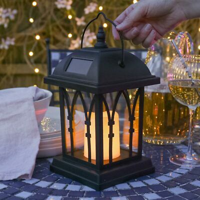 Solar Powered Outdoor Garden Flickering Candle Holder Led Lantern Light Lamp