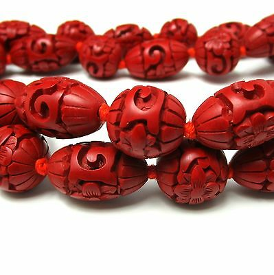 "Vintage Estate 30"" Chinese Carved Red CINNABAR 15mm Bead Necklace - Hand Knotted"