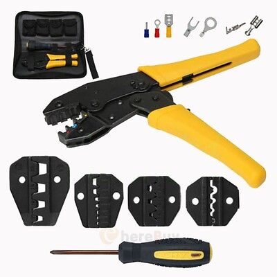 Insulated Terminals Ferrules Crimping Plier Ratcheting Crimper Tool w/ 5 Dies