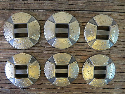 "Six New Handmade ROBERT EVANS Silver Mounted Chap Saddle Slotted 1 ½"" CONCHOS"