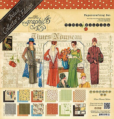 "NEW  Graphic 45 12"" x 12"" Deluxe Collectors Papercrafting Times Nouveau"