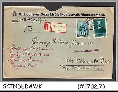 HUNGARY - 1941 REGISTERED envelope to U.S.A. with STAMPS