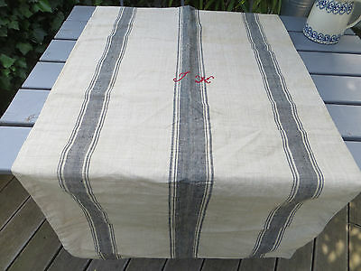 "Antique Large Linen Grainsack Feedsack  Feed Sack Blue Stripes 28"" by 54""Unused"