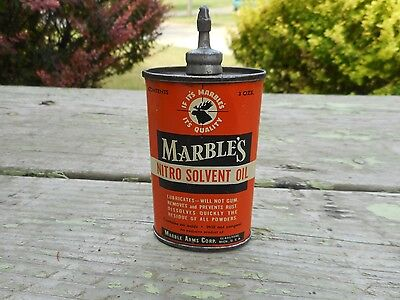 Vintage MARBLES Ammo Gun Advertising LEAD TOP Handy Oiler Oil Can w MOOSE HEAD