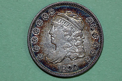 One Sweet Rainbow Rim Toned 1830 Capped Bust Half Dime (BHDX238)