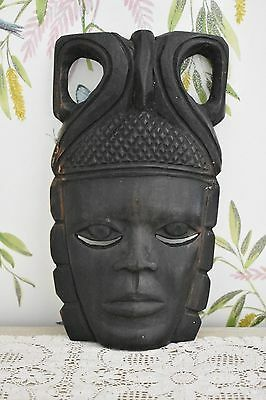 African Tribal Art Wall Mounted Mask Wooden Carved