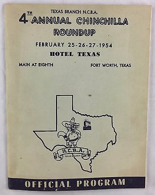 Antique 1954 Program 4th Annual Chinchilla Roundup Fort Worth NCBA Texas