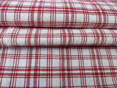 "Antique Handwoven Checked Red White Linen Fabric 27 "" by 58 ""  1.61 Yards"