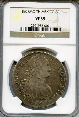 Mexico 1807-Mo-Th 8 Reales King Charles Iv Of Spain,toned Ngc-Vf-35.