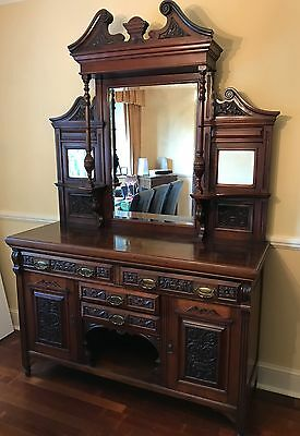 Large  Antique Victorian Mirror Back Sideboard