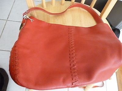 NEW RED TIGNANELLO Italy Soft Pebbled Leather Shoulder Bag  Purse