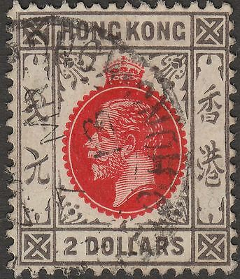 Hong Kong 1912 KGV $2 Carmine-Red and Grey-Black Used SG113 cat £75