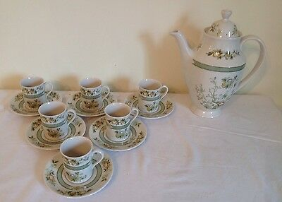 1974 Royal Doulton 'Tonkin' 6 x Coffee Cups & Saucers & Coffee Pot - Excellent
