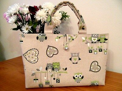 Knitting Crochet Craft Bag  Owls Fabric 100% Cotton - Lovely Gift
