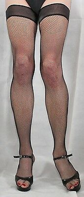 Large Black Micro Fishnet Luxury Net Design top Hold up Nylon/Lycra High Quality