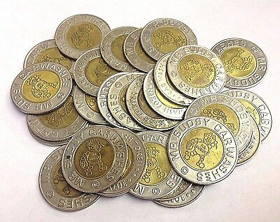 "28 x $1.00 ""MR. SUDSY CAR WASH"" Puyallup WA (Active), 0.984""  Bi-Metal Tokens"