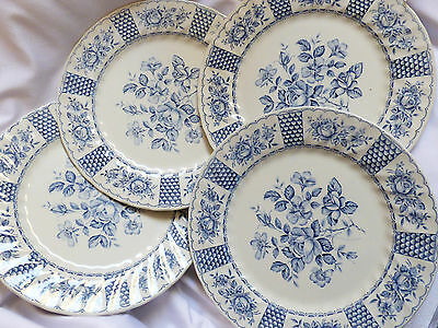 Myott China Melody Blue Floral Fine Ironstone Lot of 4 dinner plates England