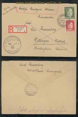 Ukraine Mi # 8 + 14 auf R-Brief Kirowograd 1943 (42980)