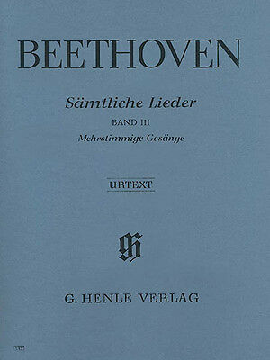 Beethoven Complete Songs Voice & Piano Vol III Henle Urtext Sheet Music Book NEW