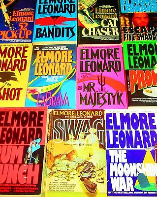 ELMORE LEONARD  Lot of 11- SOFTCOVERS/MYSTERY-Cat Chaser, Swag, Bandits, Pronto