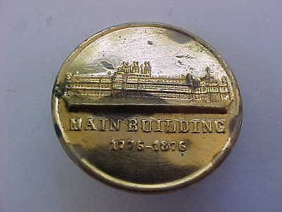 1876 - Centennial Exhibition - Original Brass Lapel Stud/Button - Main Building
