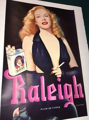 Original Raleigh Cigarette Poster Sign 1940s Mint Old Guaranteed Pin Up Girl