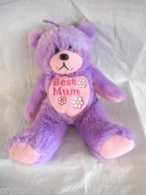 "*1507e*  GIFTED BEARS Skansen - Mauve ""Best Mum"" bear - plush"