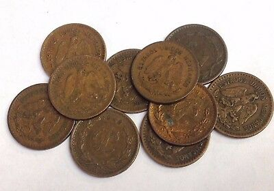 Lot of 10 x Mexico One Centavo coins, vintage bronze 1905-1949 type, KM#415