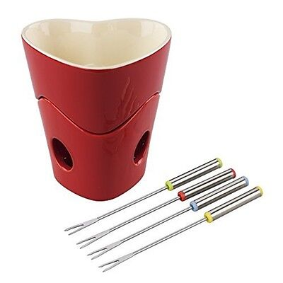 Tala Originals Heart Fondue With 4 Stainless Steel Forks, Red