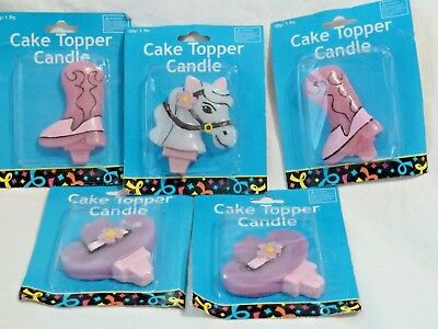 """Western Style Cake topper candles 5 piece lot, horse boot and cap 3.5"""" - 4"""""""