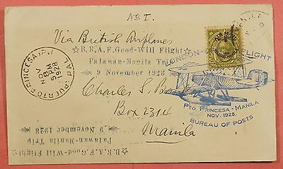 Philippines First Flight Cover 1928 Puerto Princesa To Manila W/# C9 Aamc 33