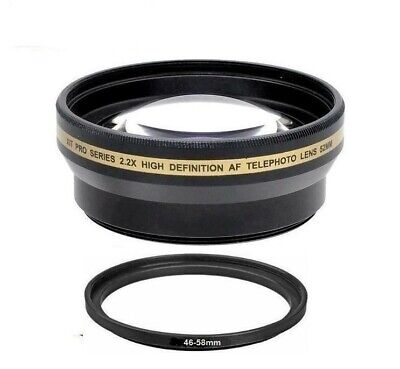 Xit 46/52mm Pro-Series 2.2x Telephoto Lens for Photo & Video Camera (See listed)