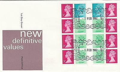(02431) GB FDC 50p Booklet Panes both Windsor 1 February 1982