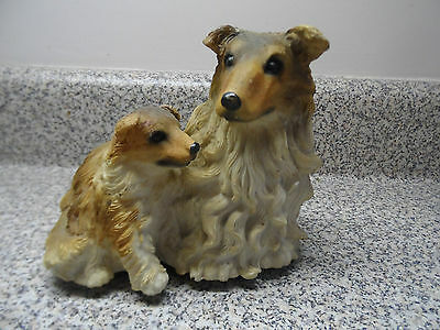 """Collie Mother & Puppy Figurine Musical Plays  """"Are You Lonesome Tonight?"""""""