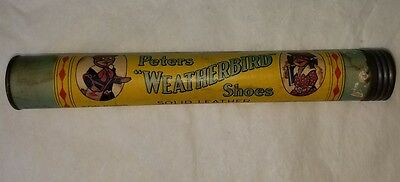 Antique Peters Weatherbird Shoes Pencil Box Colorful Graphics. Promo Advertising