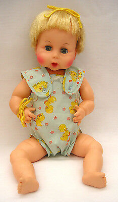 "EA38 Vintage Horsman 17"" Drink & Wet Baby Doll, thumb sucker, jointed vinyl"