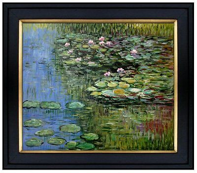 Framed, Claude Monet Water Lilies Pond Repro, Hand Painted Oil Painting 20x24in
