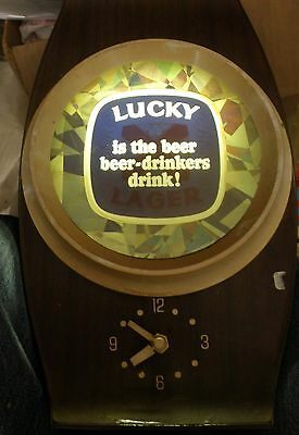 Vintage Lucky Lager Beer Lighted Moving Sign Unique Rare  ALL Works Great !