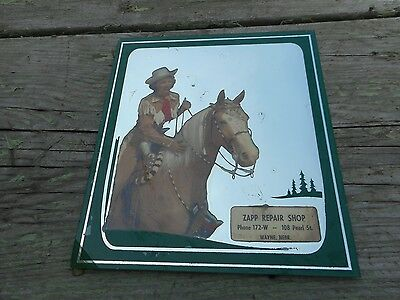 Vintage Advertising Mirror COWGIRL on HORSE ZAPP REPAIR WAYNE NEBRASKA NE SIGN