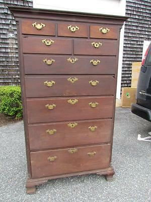ANTIQUE 1700s PENNSYLVANIA PERIOD AMERICAN CHIPPENDALE TALL CHEST