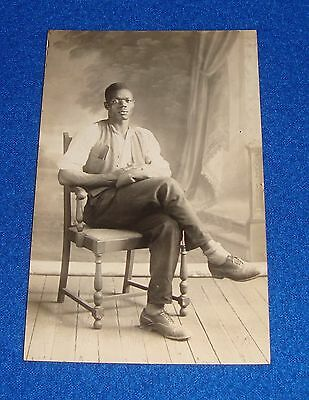 Vintage Black Americana RPPC Young Man Seated
