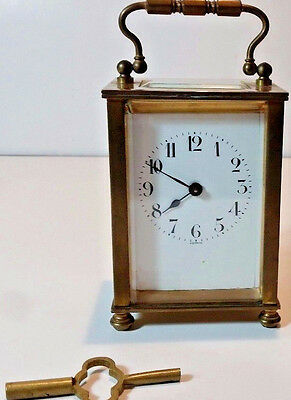 Antique Vtg  French Brass Carriage Clock By D. Barrios -Works Great