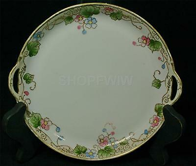 Vintage Antique Nippon Hand-Painted Double Handled Floral Cake Plate 1911-1921