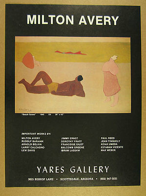 1978 Milton Avery 'beach scene, 1945' painting Yares Gallery vintage print Ad
